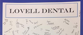 Lovell Dental thank you card with signatures