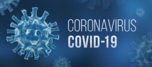 "Blue model of virus and text reading ""Coronavirus COVID-19"""
