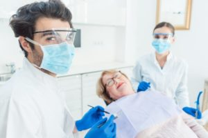 Dentist wearing PPE